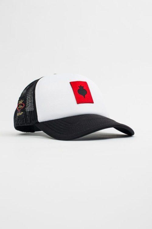 Καπέλο unisex ασπρόμαυρο με στάμπα σε χρώμα κόκκινο