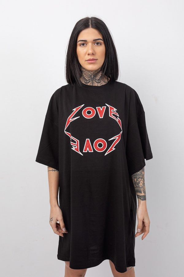 Γυναικείο φόρεμα onesize σε μαύρο χρώμα με στάμπα Love