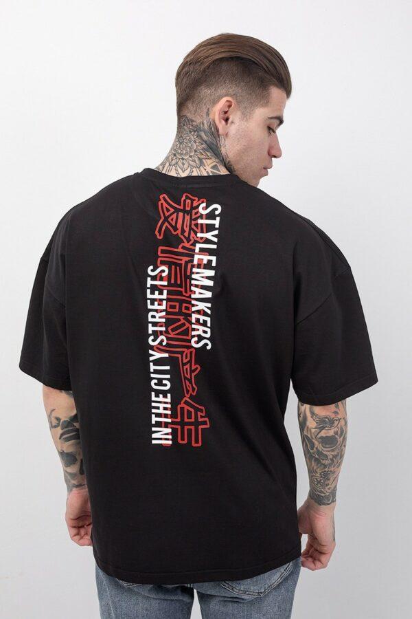 Ανδρικό κοντομάνικο μπλουζάκι oversized σε μαύρο χρώμα με δυο στάμπες η μια μπροστά και η δεύτερη πίσω TLO211