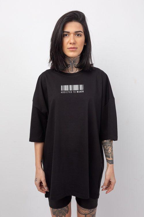Boyfriend t-shirt oversized σε μαύρο χρώμα με στάμπα barcode