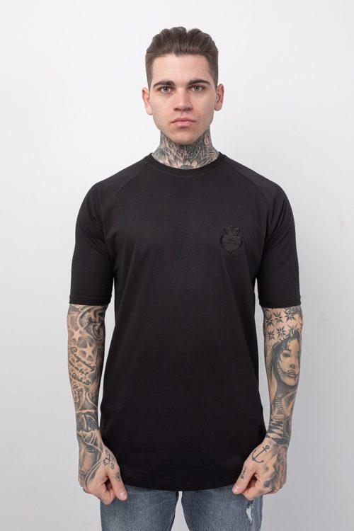 Ανδρικό μπλουζάκι μαύρο με κοντό μανίκι με στάμπα μαύρη το λογότυπο TS002