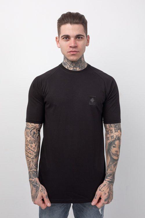 Ανδρικό κοντομάνικο μπλουζάκι σε μαύρο χρώμα με στάμπα κέντημα μαύρο με το λογότυπο Love Generation TS127