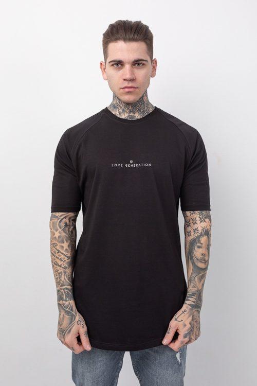 Ανδρικό μαύρο t-shirt κοντομάνικο με λευκή στάμπα Love Generation TS209