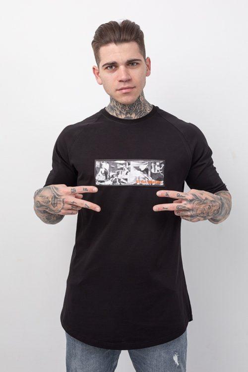 Ανδρική κοντομάνικη μπλούζα σε μαύρο χρώμα με στάμπα γκουέρνικα TS221