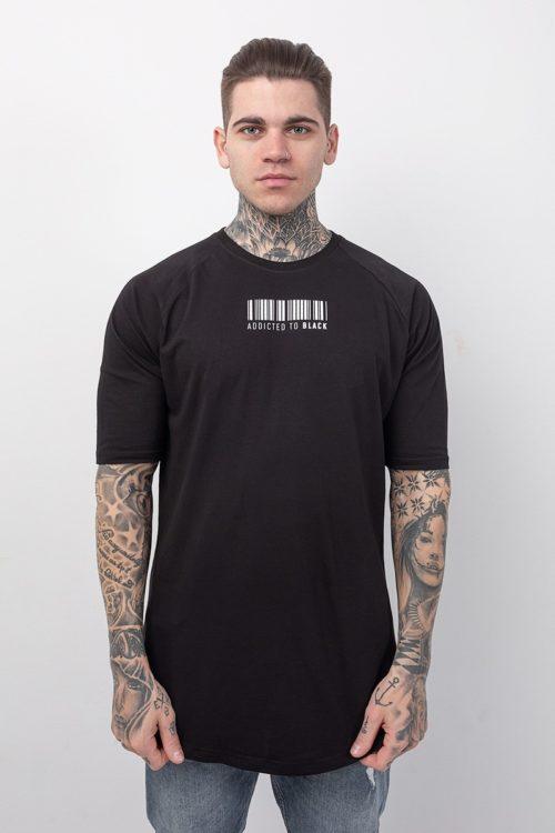 Ανδρική κοντομάνικη μπλούζα σε μαύρο χρώμα με στάμπα barcode TS224