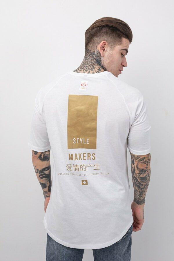 Ανδρικό t-shirt με κοντό μανίκι σε λευκό χρώμα με χρυσή στάμπα στην πλάτη TS131/B