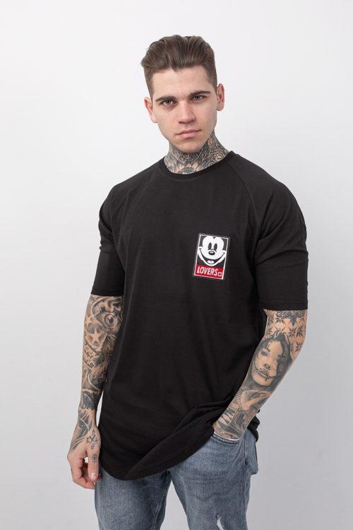 Ανδρικό t-shirt με κοντό μανίκι σε μαύρο χρώμα με στάμπα Mickey lovers TS206