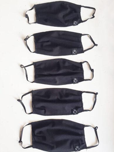 Υφασμάτινες μάσκες προστασίας σε πακέτο πέντε τεμαχίων σε μαύρο χρώμα