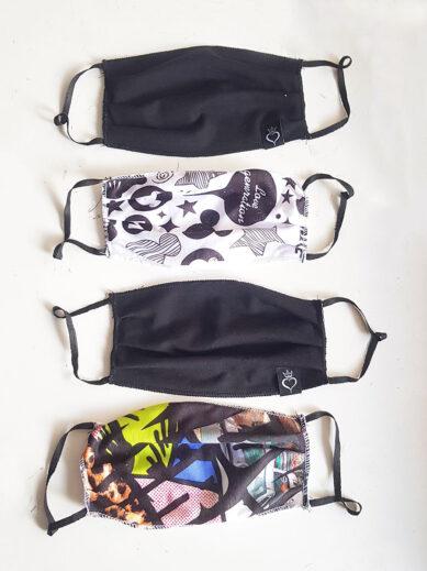 Μάσκες προστασίας υφασμάτινες σε πακέτο τεσσάρων τεμαχίων μαύρες,εμπριμέ και mickey
