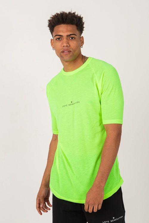 Ανδρικό κοντομάνικο μπλουζάκι σε λάιμ φλούο χρώμα με μαύρη στάμπα TS209