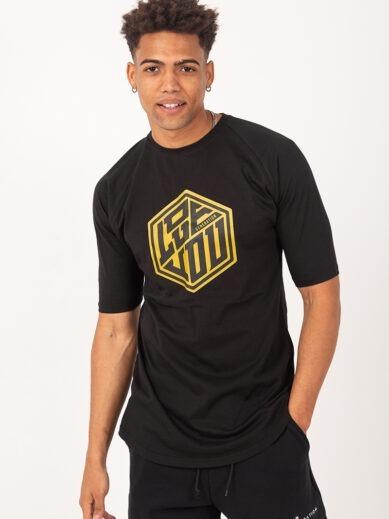 Ανδρικό κοντομάνικο t-shirt σε μαύρο χρώμα με χρυσή στάμπα TS227