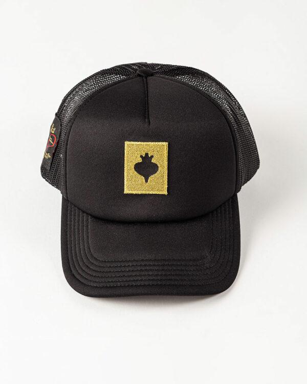 Καπέλο μαύρο unisex με στάμπα σε χρώμα χρυσό