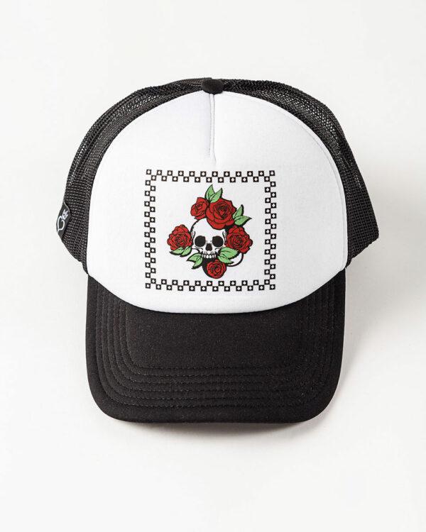 Καπέλο unisex σε ασπρόμαυρο χρώμα με στάμπα νεκροκεφαλή