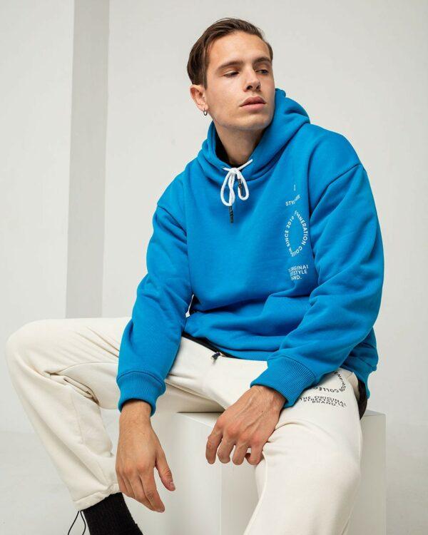 Ανδρικό γαλανό hoodie με κουκούλα