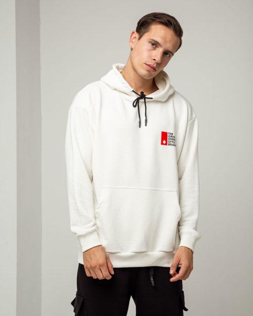Ανδρικό oversized hoodie σε λευκό χρώμα με κουκούλα