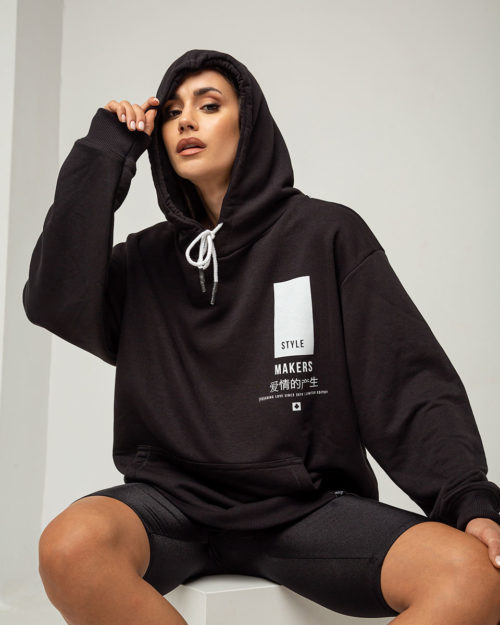 Hoodie boyfriend με κουκούλα σε μαύρο χρώμα