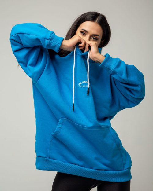Boyfriend hoodie σε γαλανό χρώμα με κουκούλα