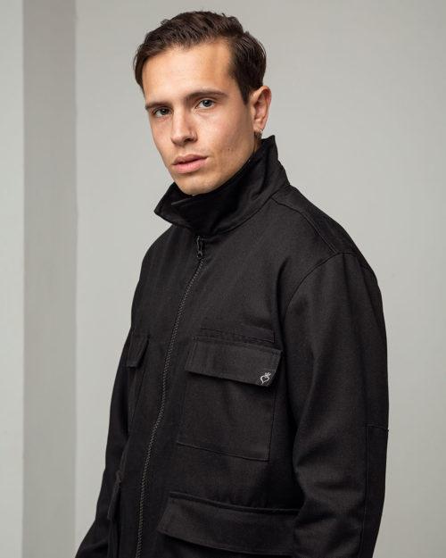 Ανδρικό jacket oversized με φερμουάρ σε μαύρο χρώμα