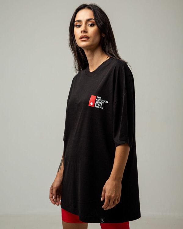 Boyfriend oversized μπλούζα με κοντό μανίκι σε μαύρο χρώμα