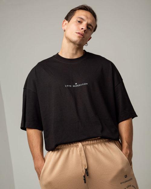 Ανδρικό μπλουζάκι oversized σε μαύρο χρώμα
