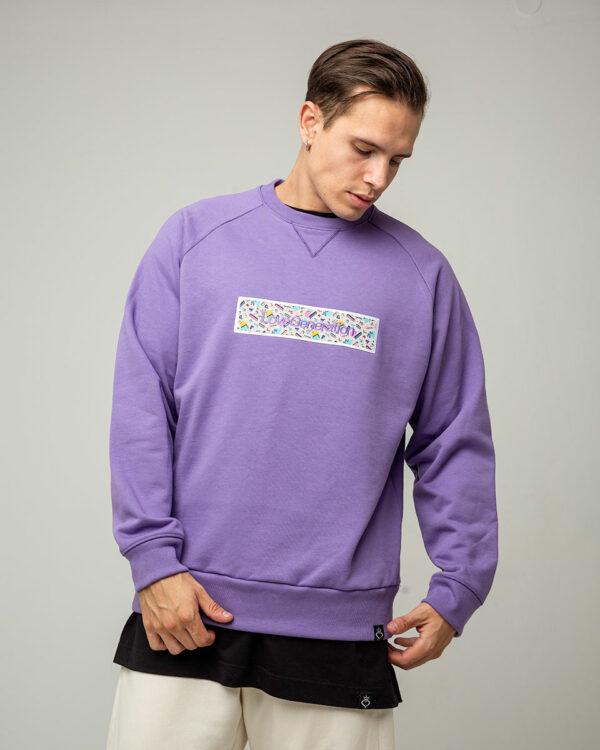 Ανδρικό φούτερ σε μοβ χρώμα μακρυμάνικο και στάμπα χρωματιστή με την επωνυμία της Love Generation